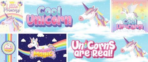 Cute unicorn design set vector