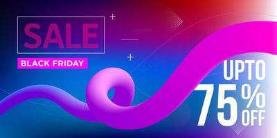 Black Friday Blue and Pink Ribbon Sale Banner Design