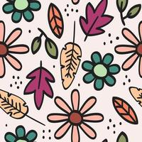 Hand-drawn floral seamless pattern vector