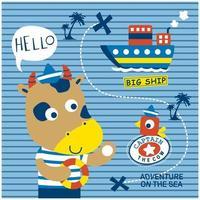 pequeño toro como un aventurero del mar