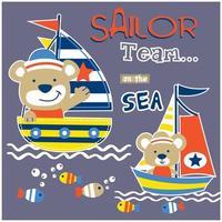 Cute bears sailing vector