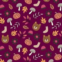 Hand-drawn autumn seamless pattern background vector