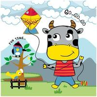 Little cow playing with kite