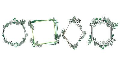 Set of floral and foliage frames vector