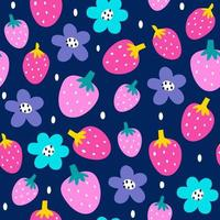 Strawberry seamless pattern background vector