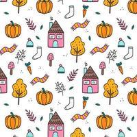 Hand-drawn autumn seamless pattern wallpaper vector