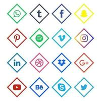 Linear Colored Social Media Icons