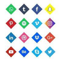 jeu d & # 39; icônes de médias sociaux colorés vecteur