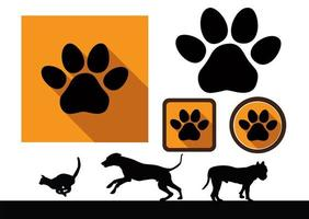 Animal paw icons vector