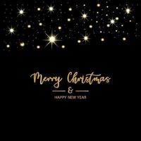 Merry Christmas and Happy New Year Black Background vector