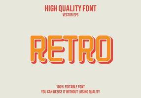 efecto de texto editable retro vector