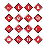 jeu d'icônes de coin rouge et noir de médias sociaux vecteur