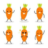 Collection of cute carrot character in various poses