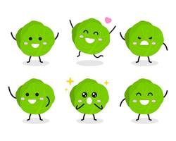 Collection of cute cabbage character in various poses