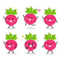Collection of cute radish character in various poses