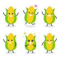 Collection of cute corn character in various poses
