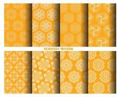 White on yellow hand drawn patterns set
