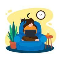 mujer sentada en un sillón y trabajando con su computadora portátil vector