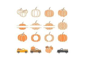 Set of Pumpkin elements vector