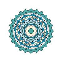 Floral Blue Green Colored Mandala
