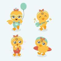 jolie petite collection de personnages de canard vecteur