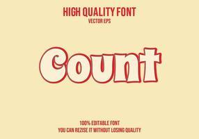 contar efecto de texto redondeado editable vector