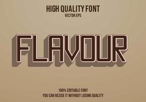 efecto de texto marrón editable de sabor vector