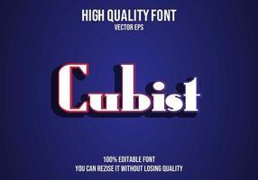 efecto de texto editable cubista vector