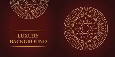 Luxury creative dark red and gold mandala design vector