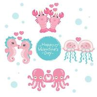 Set of sea animals for Valentine's Day celebration