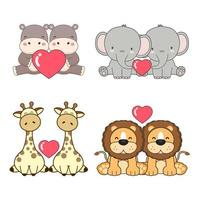 Set of cute animals for Valentine's Day celebration