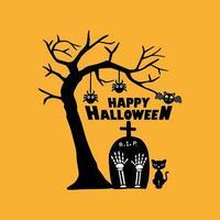 lindo cementerio para la celebración de halloween tarjeta de felicitación