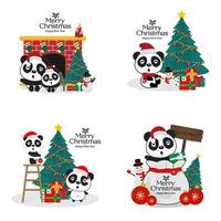 Collection of Christmas panda bears in Santa hats vector