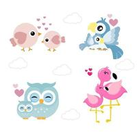 Set of cute animals for Mother's Day  vector