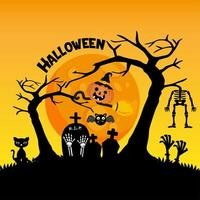 Cute cemetery for Halloween celebration greeting card