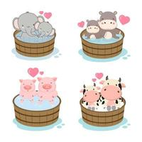 Set of cute animals for Mother's Day