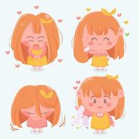 Cartoon redhead girl character set