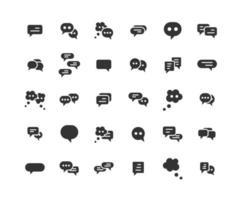 Speech Bubble Solid Icon Set vector