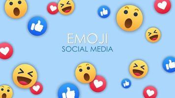 Social media emoji icons background vector