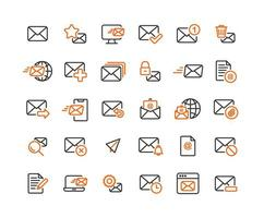 Email and Mail Outline Icon Set vector