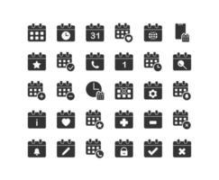 calendario sólido conjunto de iconos vector