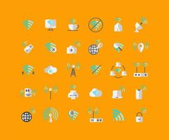 Wireless Network Flat Icon Set vector