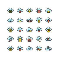 Cloud Computing Filled Outline Icon Set vector