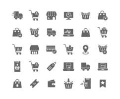Online Shopping Solid Icon Set vector