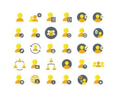 Users Flat Icon Set vector