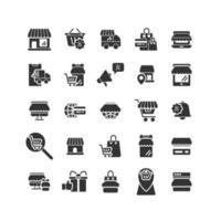conjunto de iconos sólidos de compras en línea