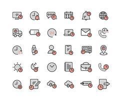conjunto de iconos de contorno lleno de tiempo vector