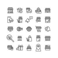 conjunto de iconos de contorno de compras en línea