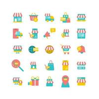 conjunto de iconos planos de compras en línea