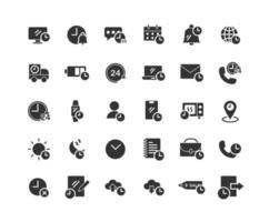 tiempo sólido conjunto de iconos vector